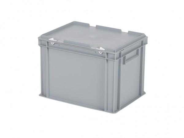 Stapelbehälter mit Deckel - 400x300xH295mm - Grau