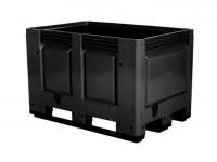 Kunststoff Palettenbox - 1200x800mm - auf 3 Kufen - Schwarz