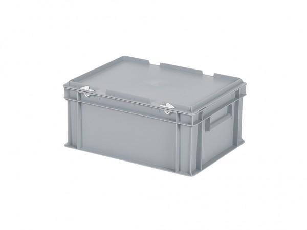 Stapelbehälter mit Deckel - 400x300xH190mm - Grau