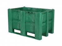 CB1 Kunststoff Palettenbox - 1200 x 800 mm - auf 3 Kufen - Grün 83381510