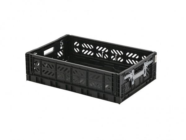 MULTIWAY Faltbehälter - 600x400xH156 mm - Schwarz - graue Griffe