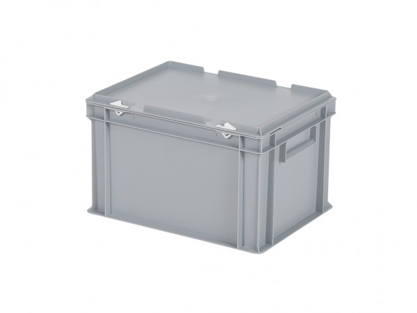 Stapelbehälter mit Deckel - 400x300xH250mm - Grau