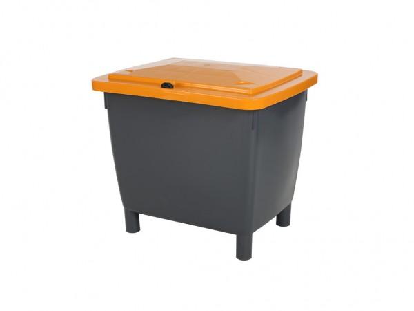 Streugutbehälter - 210 Liter - auf 4 Füßen - grau mit orangem Deckel