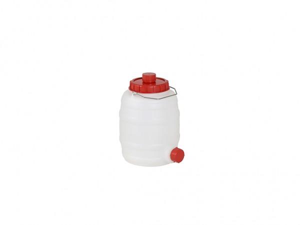 Fass aus Kunststoff mit Auslauf - 10 Liter - Naturweiß