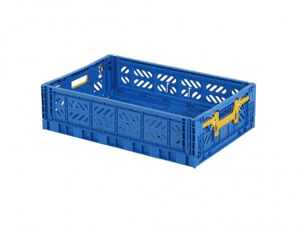 MULTIWAY Faltbehälter - 600x400xH156 mm - Blau - Gelbe Griffe