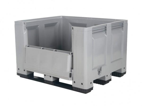 Palettenbox - 1200x1000mm - Scharnierklappe - 3 Kufen - Grau