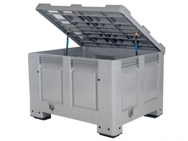 Streugutbehälter 1200x1000mm - Kunststoff Palettenbox mit Deckel - auf 4 Füßen