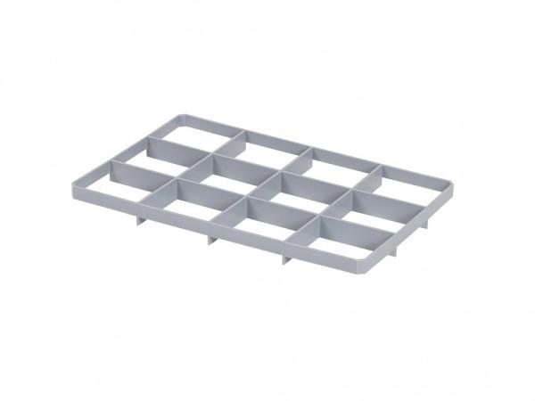 Untere Facheinteilung f. Stapelbehälter - 12 Fächer - Fachgröße 117x137mm
