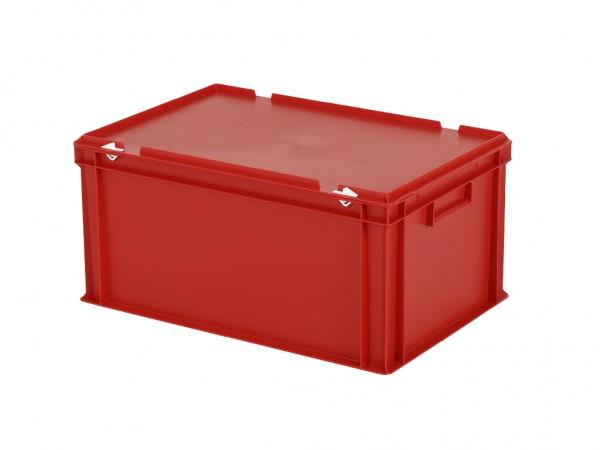 Stapelbehälter mit Deckel - 600x400xH295mm - Rot