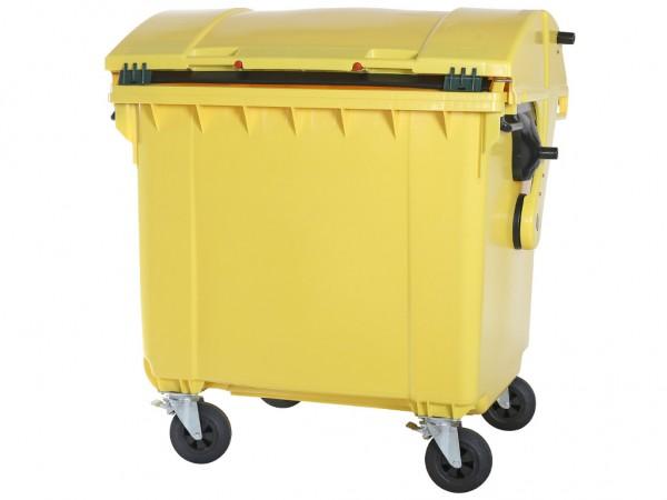 Müllcontainer 1100 Liter - 4 Räder - mit Schiebedeckel - Gelb