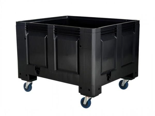 Palettenbox - 1200x1000mm - Rollen - Schwarz