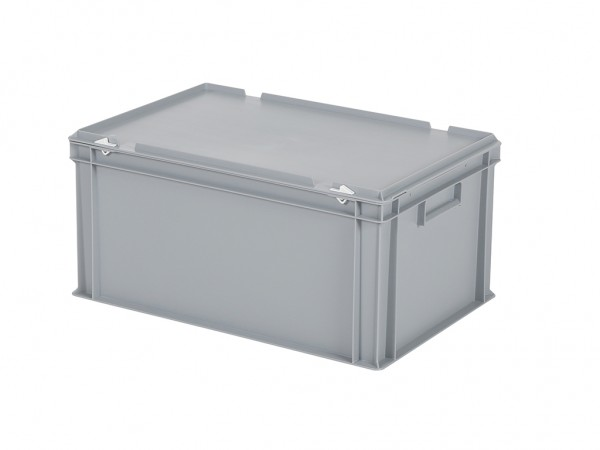 Stapelbehälter mit Deckel - 600x400xH295mm - Grau