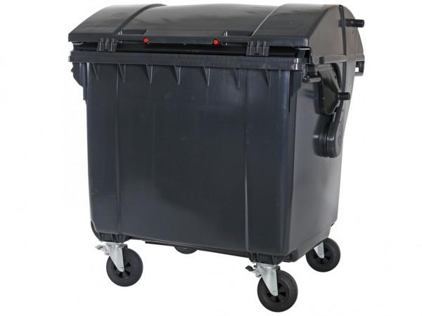 Müllcontainer 1100 Liter - 4 Räder - mit Schiebedeckel - Grau