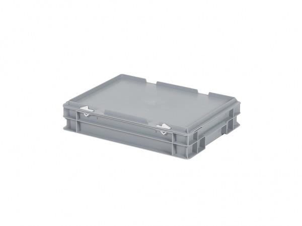 Stapelbehälter mit Deckel - 400x300xH90mm - Grau