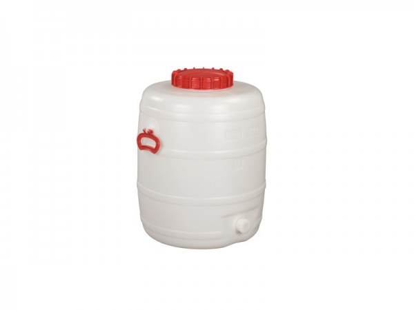Fass aus Kunststoff mit Auslauf - 80 Liter - Naturweiß