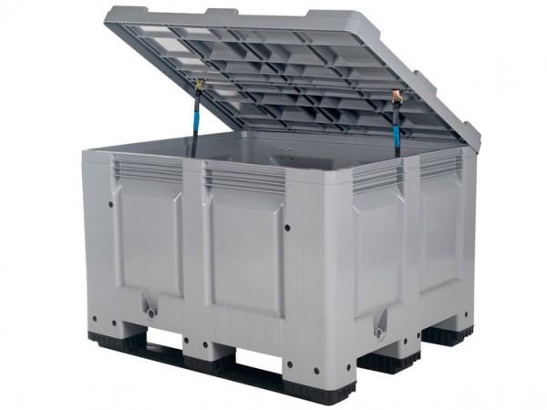 Streugutbehälter 1200x1000mm - Kunststoff Palettenbox mit Deckel - auf 3 Kufen