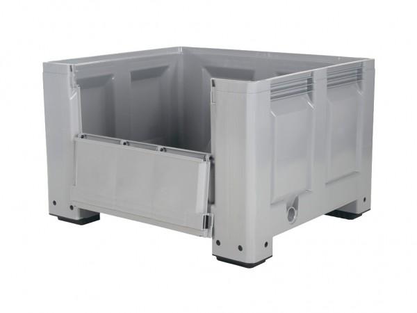 Kunststoff Palettenbox - 1200x1000mm - Scharnierklappe - 4 Füßen - Grau