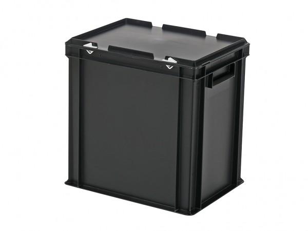 Stapelbehälter mit Deckel - 400x300xH415mm - Schwarz