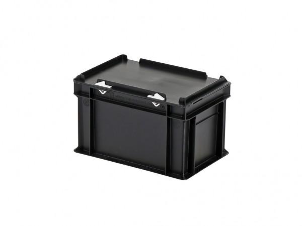 Stapelbehälter mit Deckel - 300x200xH190mm - Schwarz