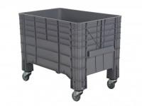 Kunststoff Palettenbox - 1040x640mm - auf Rollen - Grau