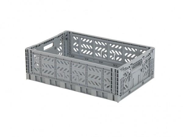 MULTIWAY Faltbehälter - 600x400xH180 mm - Grau - Graue Griffe