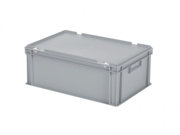 Stapelbehälter mit Deckel - 600x400xH235mm - Grau