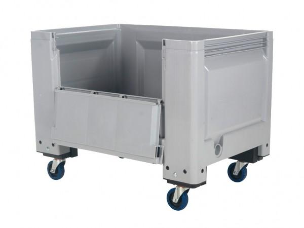 Kunststoff Palettenbox - 1200x800mm - Scharnierklappe - Rollen - Grau