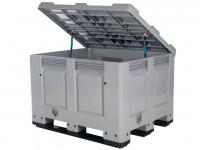 Streugutbehälter 1200x1000mm - Kunststoff Palettenbox mit Deckel - auf 3 Kufen 4401.318.554