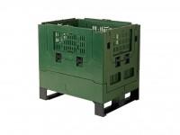 Faltbare Palettenbox - 800 x 600 mm - durchbrochen - Grün 2620.410.481
