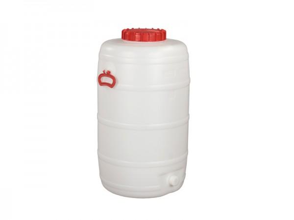 Fass aus Kunststoff mit Auslauf - 125 Liter - Naturweiß