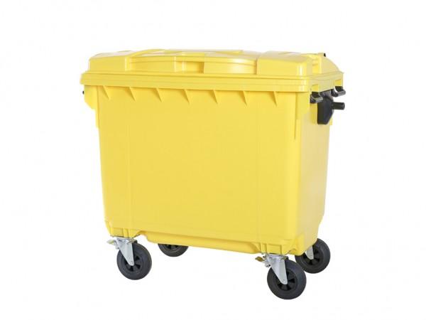 Müllcontainer 660 Liter - 4 Räder - Gelb - Müllgroßbehälter