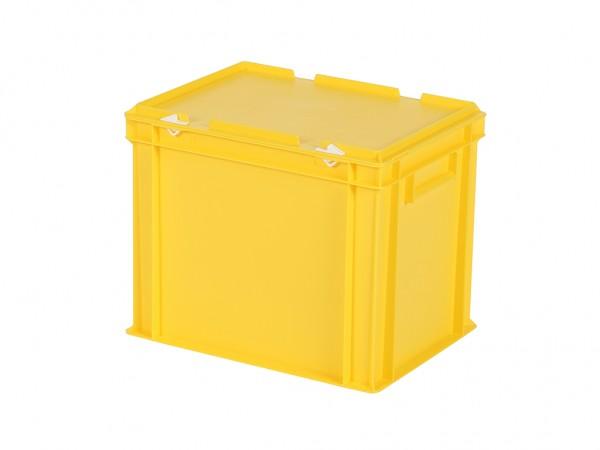 Stapelbehälter mit Deckel - 400x300xH335mm - Gelb