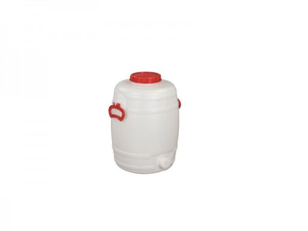 Fass aus Kunststoff mit Auslauf - 30 Liter - Naturweiß