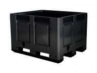 Kunststoff Palettenbox - 1200x1000mm - 3 Kufen - Schwarz 4401.300.930
