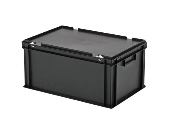 Stapelbehälter mit Deckel - 600x400xH295mm - Schwarz