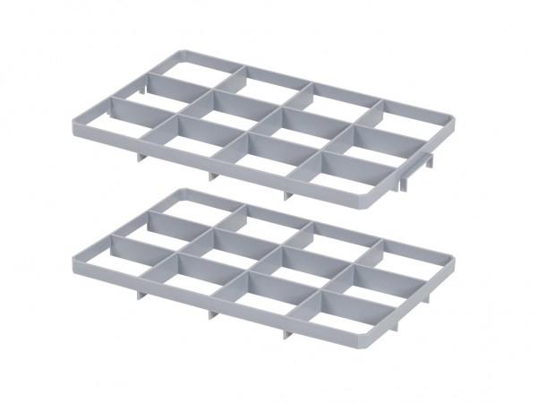 Set mit Facheinteilungen f. Stapelbehälter - 12 Fächer - Fachgr. 117x137mm